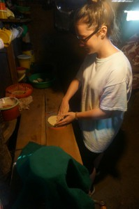 Melanie making tortillas in Llano Grande with her host family