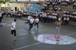 Students playing a basketball game!