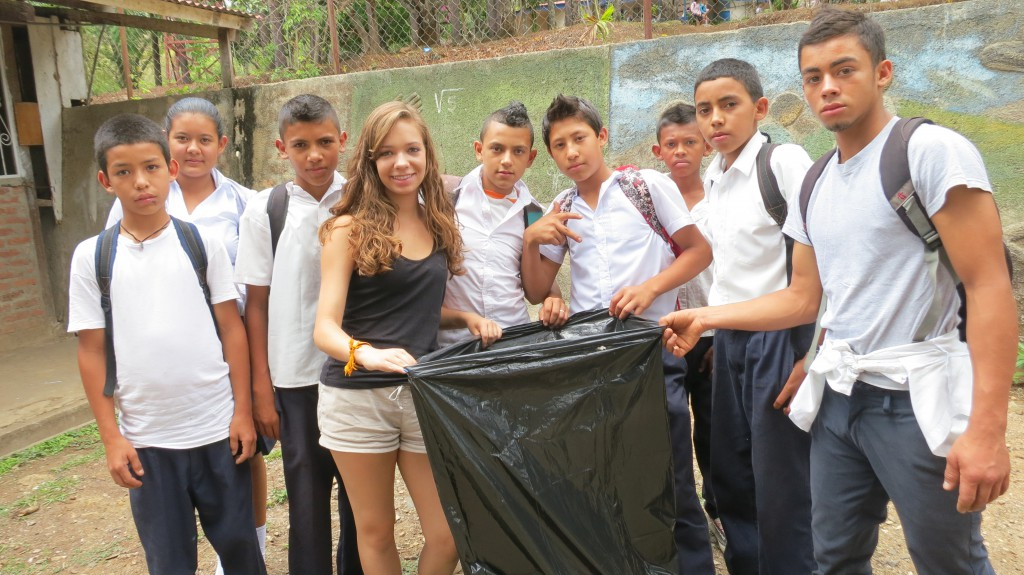 Students helping with the trash clean up