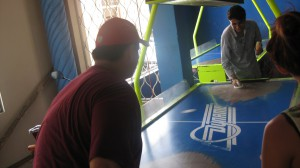 Nolan vs Evander in a heated match of air hockey!