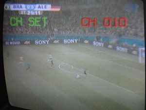 Part of the game, as viewed from our Hostal TV