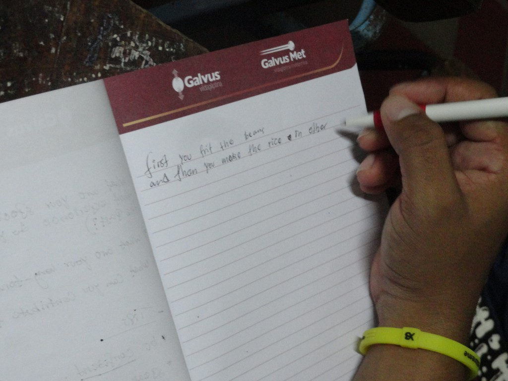 A student writes about making rice and beans using their new knowlege