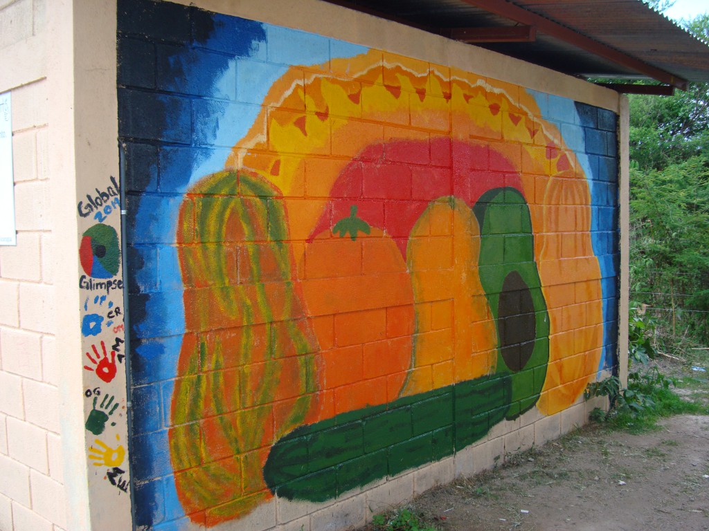 The final product of the artwork on the wall outside the school kitchen.