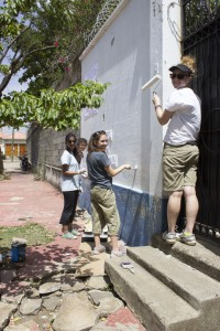 We decided to paint this wall as well, and the other side of it. We wanted to improve the overall look of the orphanage.