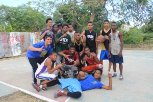 Basketball crew and the locals playing basketball!