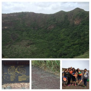 Crater of an extinct volcano, crater map, a rainbow colored lizard, and some of Glimpsers after our hike.