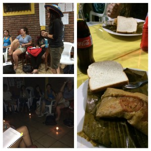 Dinner was a special treat: nacatamales, bread, and a soda. Lupe accepted and accomplished her ELDD challenge to Brian, and we finished the meeting preparing for our $1/day challenge by turning off the electricity.