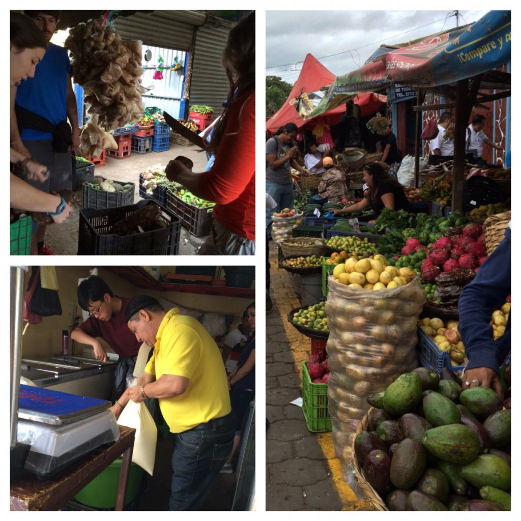 Clara and Frannie trim taro before inspecting and displaying other produce. Sean and Rocio assist with the creama and this is a picture of the Farmers Market.