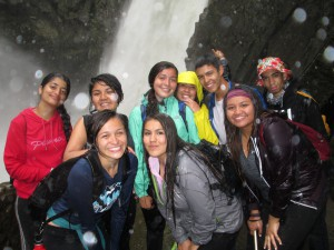The group at the top of the waterfall