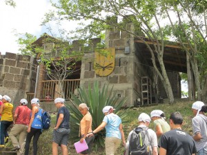 Group walking towards the chocolate castle where part of the chocolate making process takes place.